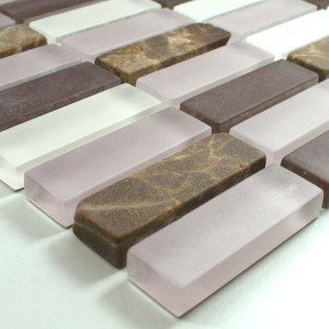 Mozaïektegel Glas Marmer 15x48x8mm Purper Mix